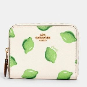 Coach Lime Print Zip Around Wallet NWT